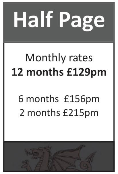 Half Page: 12 months at £129pm, 6 months at £156pm, 2 months at £215pm