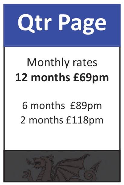 Quarter Page: 12 months at £69pm, 6 months at £89pm, 2 months at £118pm
