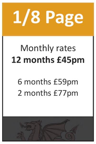 1/8 Page: 12 months at £45pm, 6 months at £59pm, 2 months at £77pm.