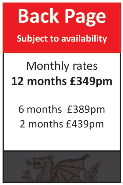 Back Page (Subject to availability): 12 months at £349pm, 6 months at £389pm, 2 months at £439pm
