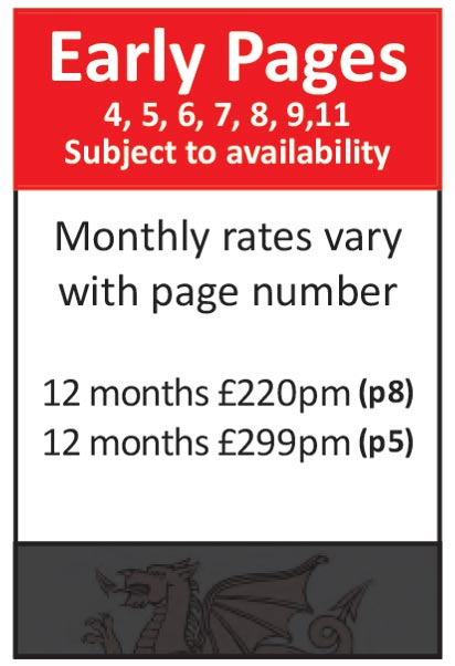 Early Pages (Subject to availability - includes page numbers 4, 5, 6, 7, 8, 9 & 11). Rates vary with page number e.g. price for Page 8 is 12 months at £220pm, for page 5 is 12 months at £299pm.