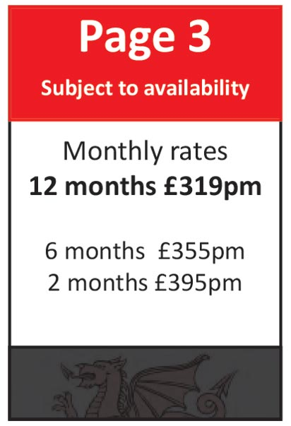 Page Three (Subject to availability): 12 months at £319pm, 6 months at £355pm, 2 months at £395pm
