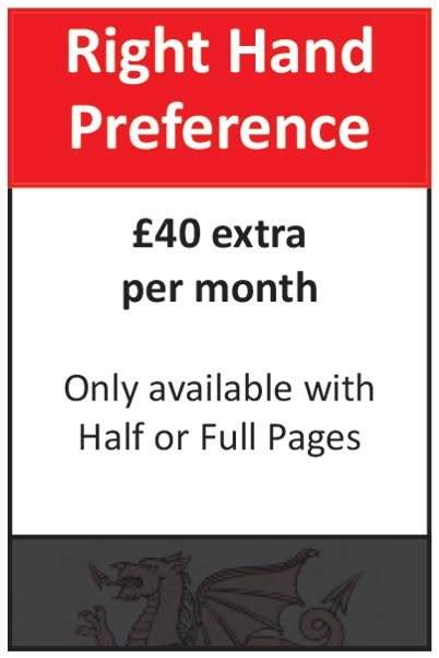 Right Hand Preference: £40 extra per month. Only available with Half or Full Pages.